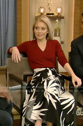 Kelly's v neck sweater and palm print skirt on Live with Kelly