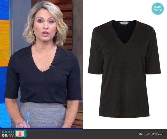 Lorna V Neck Top by L.K. Bennett worn by Amy Robach on Good Morning America