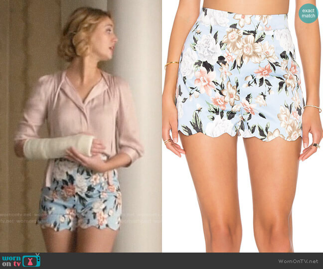 Lucca Couture Floral Scalloped Shorts worn by Petra Solano (Yael Grobglas) on Jane the Virgin