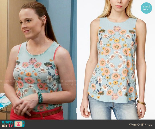 Lucky Brand Floral Print Tank worn by Katie Leclerc on Switched at Birth