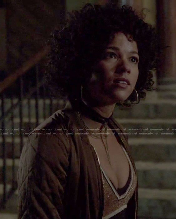 Maia's brown bomber jacket and v neck sweater on Shadowhunters