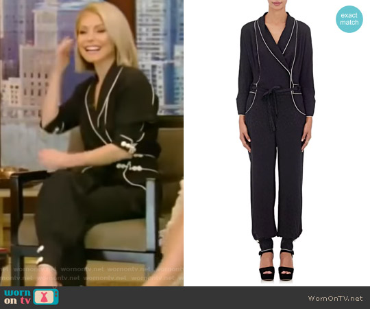 Floral-Jacquard Silk Crepe Jumpsuit by Maison Mayle worn by Kelly Ripa on Live with Kelly & Ryan