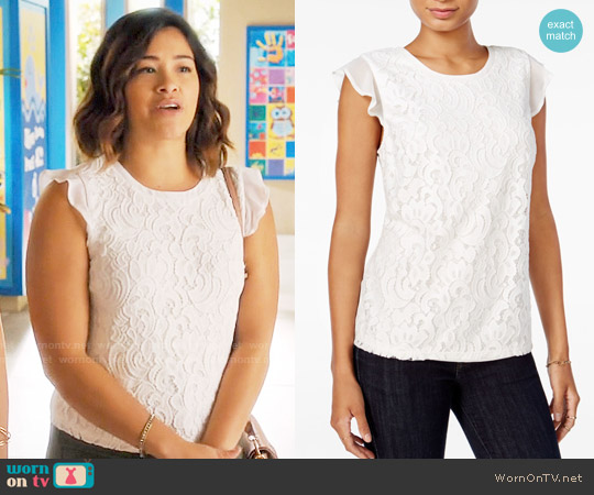 Maison Jules Lace Flutter-Sleeve Top worn by Jane Villanueva (Gina Rodriguez) on Jane the Virgin
