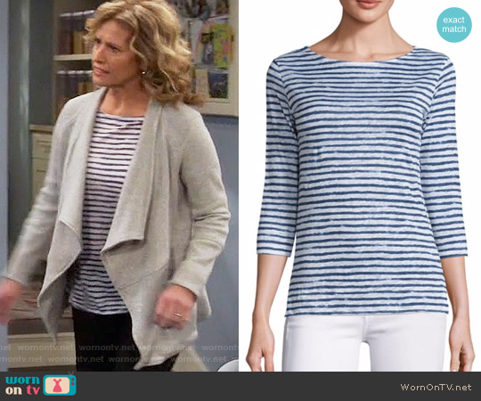 Majestic Filatures Striped Linen Tee worn by Vanessa Baxter (Nancy Travis) on Last Man Standing