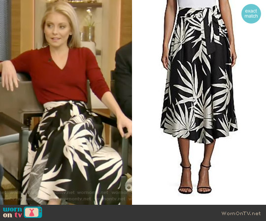 Jackie Palm Print Midi Skirt by Milly worn by Kelly Ripa on Live with Kelly & Ryan