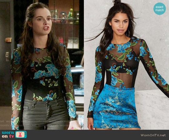 Nasty Gal Bloom or Bust Embroidered Mesh Bodysuit worn by Vanessa Marano on Switched at Birth