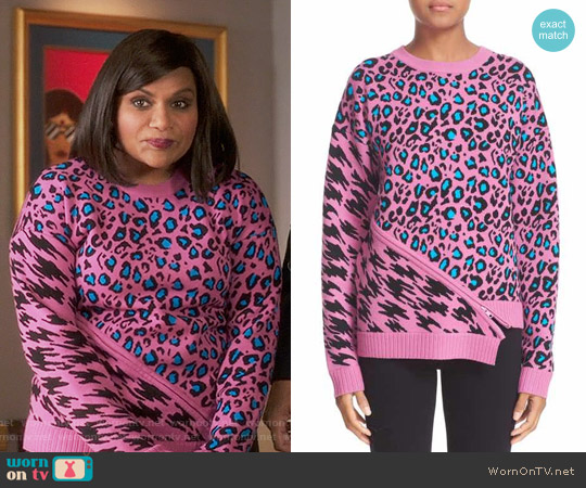 Opening Ceremony Pink Leopard Intarsia Sweater worn by Mindy Kaling on The Mindy Project