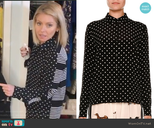 Polka-Dot Silk Blouse w/Striped Back by Stella McCartney worn by Kelly Ripa on Live with Kelly & Ryan