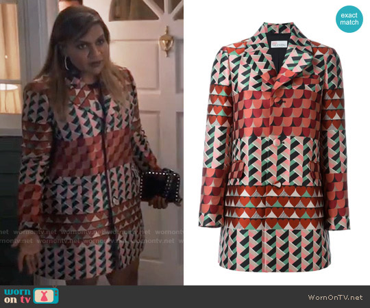RED Valentino Geometric Print Coat worn by Mindy Kaling on The Mindy Project