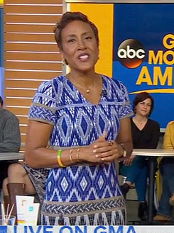 Robin's blue geometric print dress on Good Morning America