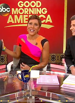 Robin's asymmetric neck dress with cutouts on Good Morning America