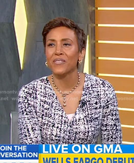 Robin's white printed wrap dress on Good Morning America