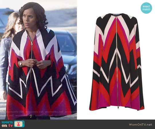 Salvatore Ferragamo Multicolored Zig Zag Cape worn by Kerry Washington on Scandal