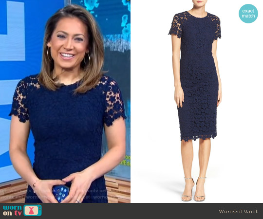 Beaux Lace Midi Dress by Shoshanna worn by Ginger Zee on Good Morning America