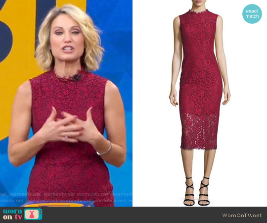 Sleeveless Lace Midi Sheath Dress by Shoshanna worn by Amy Robach on Good Morning America