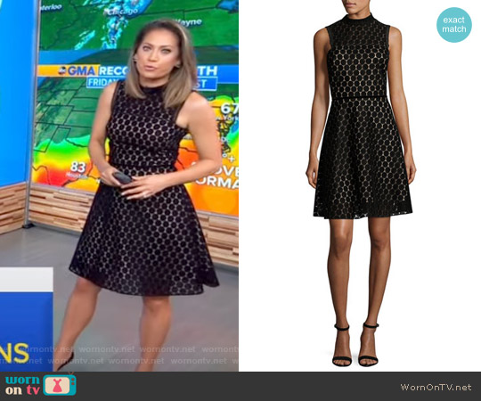 Sleeveless Velvet Polka-Dot Cocktail Dress by Shoshanna worn by Ginger Zee  on Good Morning America