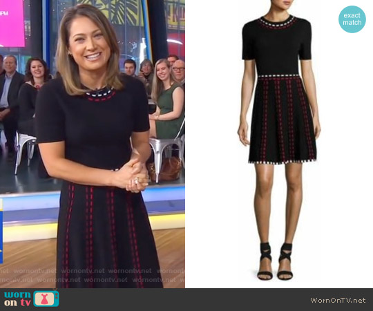 Thompson Short-Sleeve Knit Fit-and-Flare Dress by Shoshanna worn by Ginger Zee on Good Morning America