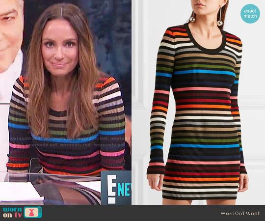 Sonia Rykiel Striped ribbed-knit mini dress worn by Catt Sadler  on E! News