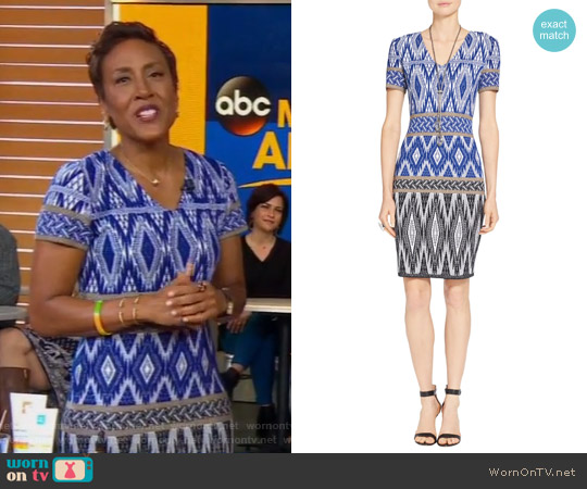 Patterned Wool-Blend Dress by St. John worn by Robin Roberts on Good Morning America