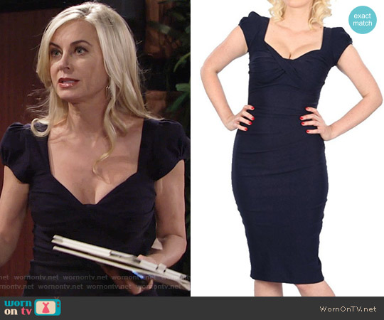 Stop Staring Billion Dollar Baby Dress in Navy worn by Eileen Davidson on The Young & the Restless