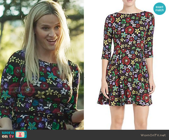 Suno Stretch-Silk Floral Fit-&-Flare Dress worn by Reese Witherspoon on Big Little Lies
