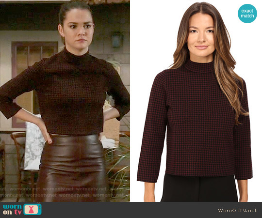 Theory Harmona JH Evian Houndstooth Sweater worn by Maia Mitchell on The Fosters