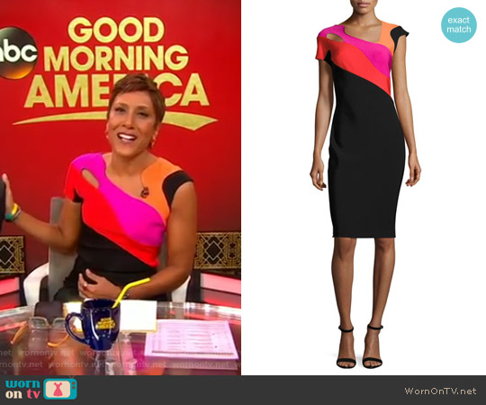 Short-Sleeve Cutout Colorblock Sheath Dress by Thierry Mugler worn by Robin Roberts on Good Morning America