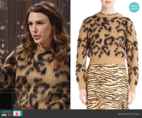 Toga Leopard Jacquard Knit Wool Blend Sweater worn by Elizabeth Hendrickson on The Young & the Restless