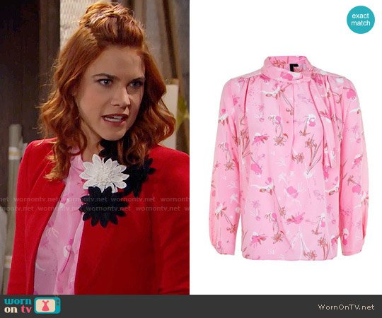 Topshop He Loves Me Not Silk Blouse worn by Courtney Hope on The Bold & the Beautiful