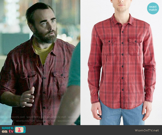 Salt Valley Acid Washed Plaid Button-Down Workshirt in Red worn by Will Forte on Last Man On Earth