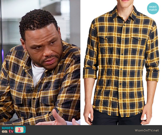 Vince Frayed-Edge Plaid Western Shirt worn by Anthony Anderson on Blackish