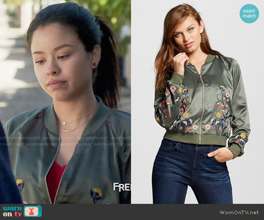 Xhilaration Embroidered Bomber Jacket worn by Cierra Ramirez on The Fosters