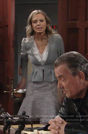 Abby's grey tweed skirted dress and grey blazer on The Young and the Restless