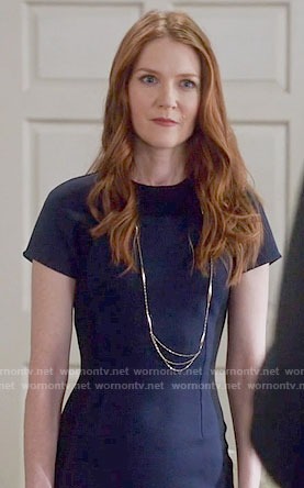 Abby's navy short sleeve sheath dress on Scandal