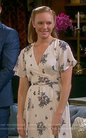 Abigail's white floral wrap dress on Days of our Lives