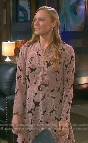 Abigail's black and pink floral dress on Days of our Lives