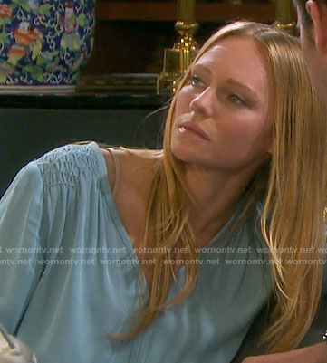 Abigail's blue blouse with smocked shoulders on Days of our Lives