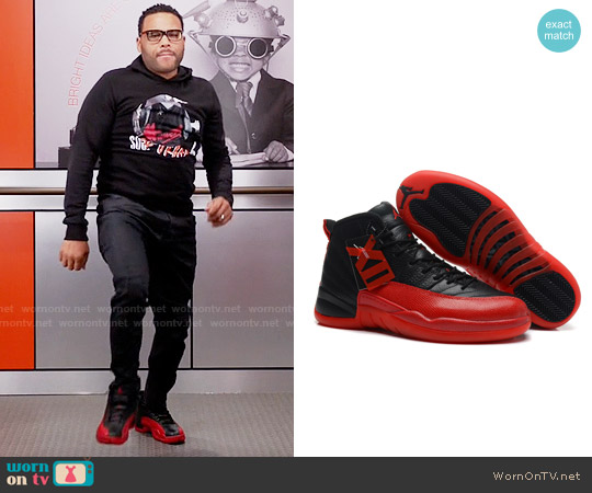 Nike Air Jordan 12 Retro Flu Game in Varsity Red worn by Andre Johnson on Blackish