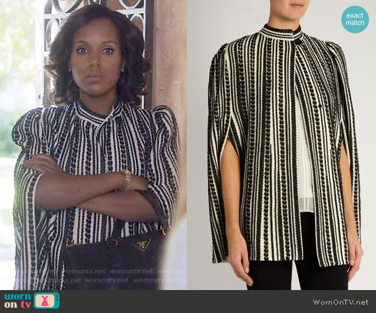 Alexander McQueen Embroidered wool-blend cape worn by Kerry Washington on Scandal
