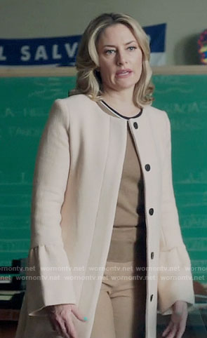 Alice's bell-sleeve coat and brown top on Riverdale