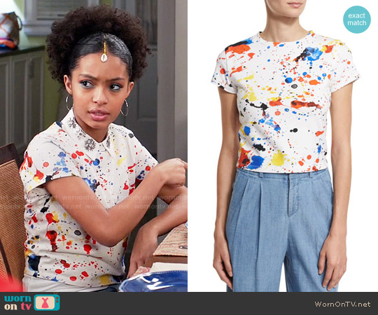 Alice + Olivia Bronte Splatter Top worn by Yara Shahidi on Blackish