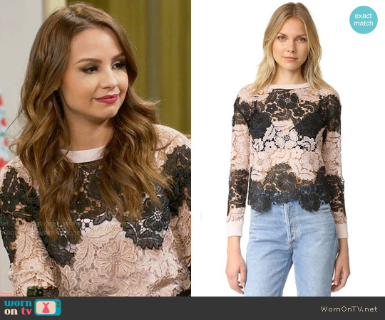 Alice + Olivia Jesse Lace Sweater worn by Sofia Rodriguez (Aimee Carrero) on Young & Hungry