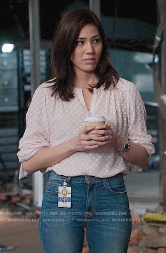 Angela's pink dotted blouse on Bones