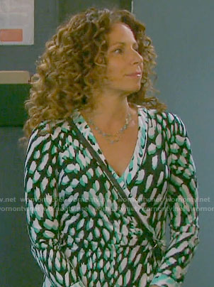 Anne's green printed wrap dress on Days of our Lives