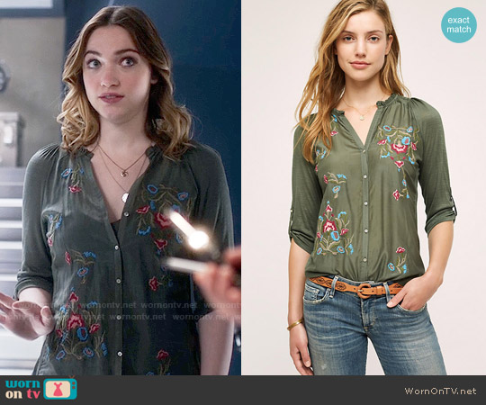 Anthropologie Lazuli Embroidered Top worn by Jesse Wells (Violett Beane) on The Flash