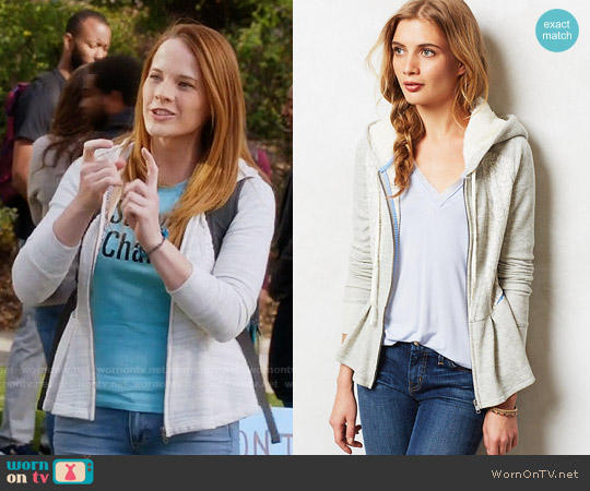Anthropologie Jacquard Peplum Hoodie worn by Daphne Vasquez (Katie Leclerc) on Switched at Birth