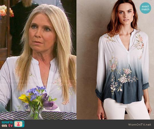 Anthropologie Ombre Garden Peasant Top worn by Melissa Reeves on Days of our Lives