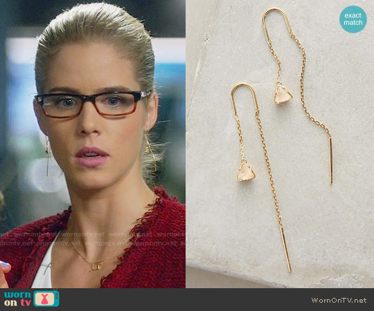 Anthropologie Pearlblossom Threaded Earrings worn by Emily Bett Rickards on Arrow