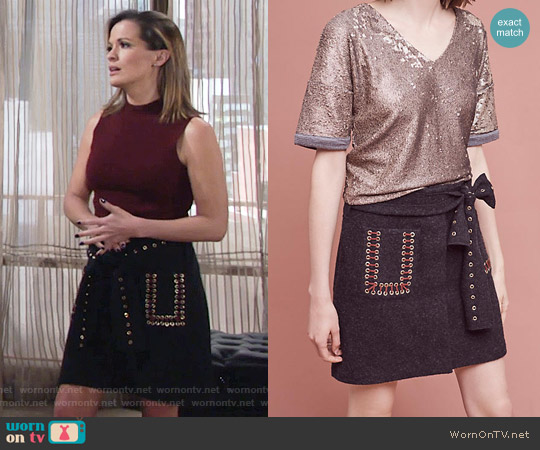 Anthropologie Wool Eyelet Mini Skirt worn by Melissa Claire Egan on The Young & the Restless