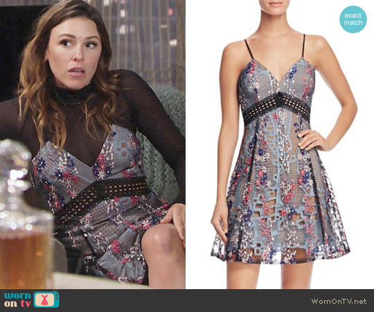 Aqua Embroidered Mesh Lace Cami Dress worn by Elizabeth Hendrickson on The Young & the Restless